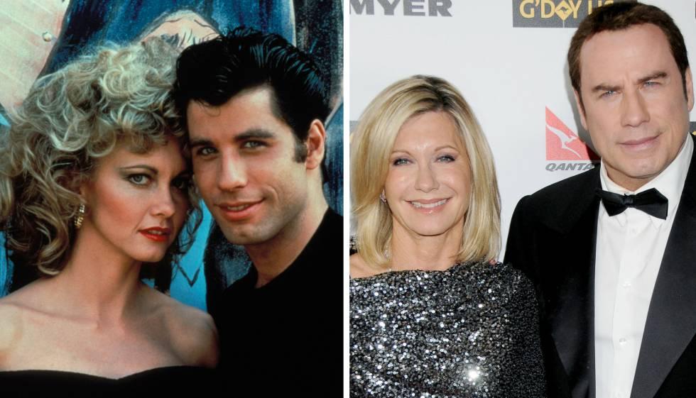 Olivia Newton-John y John Travolta, en una imagen de 1978 (izquierda) y de 2010 (derecha).