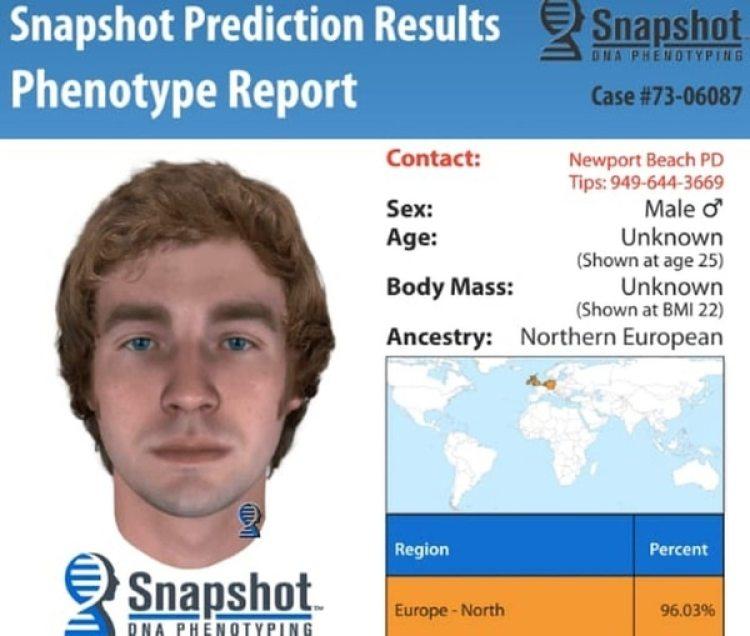 Un fenotipo realiza una imagen a través de los datos de ADN. Tras los pertinentes análisis, esta fue la imagen que los investigadores creen que tenía el asesino de Linda O'Keefe (Cortesía de Newport Beach Police Department)