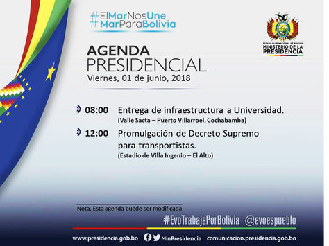 Una de las últimas agendas de Morales publicadas por el Ministerio de la Presidencia.