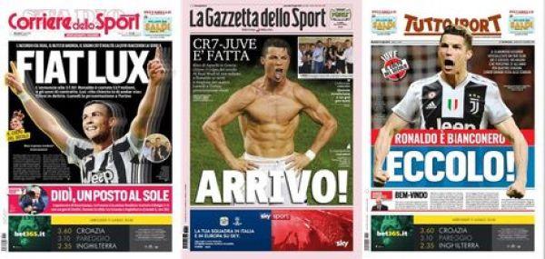 Los principales diarios italianos abrieron sus ediciones con el arribo de Ronaldo a Juventus
