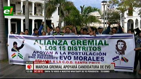 Anuncian marcha gremial para apoyar la candidatura de Evo Morales