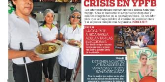 Portadas de periódicos de Bolivia del jueves 19 de julio de 2018