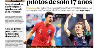 Portadas de periódicos de Bolivia del domingo 8 de julio de 2018