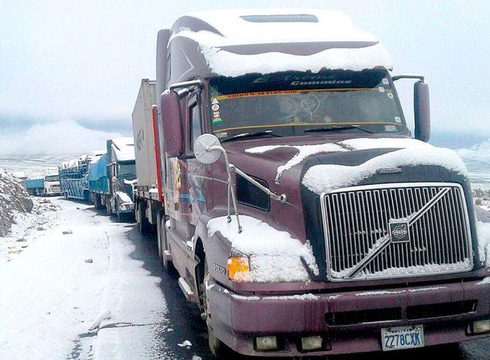 Camiones de transporte pesado boliviano están parados en la terminal del puerto chileno de Arica, debido a demoras en trámites para despachar y recoger la carga.