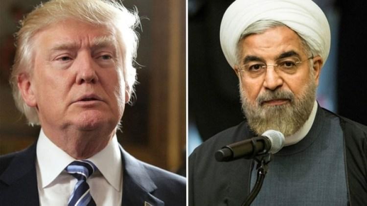 Elmandatario estadounidense Donald Trump yel presidente iraní Hasan Rohani