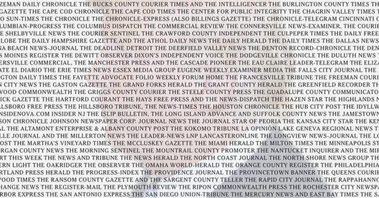 Más de 200 medios, que se nombran en la ilustración y al final del editorial de The New York Times, respondieron a la convocatoria de The Boston Globe a defender la libertad de prensa en los EEUU