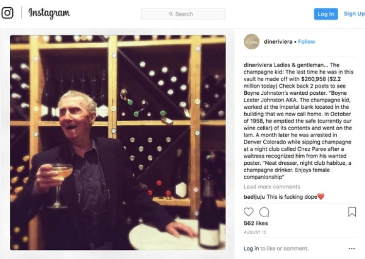 La cuenta de Instagram del restaurante canadiensepublicó la foto del legendario ladrón. (@dineriviera)