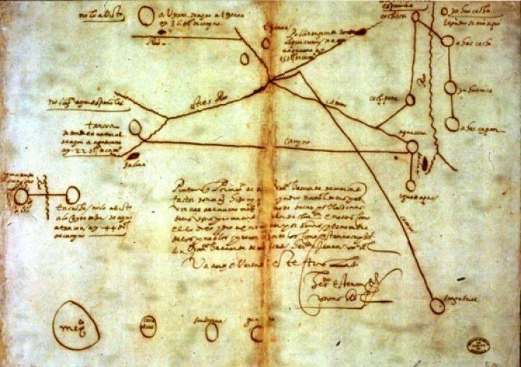 El mapa, de 1602, muestra la ubicación de la ciudad perdida de Etzanoa (Archaeological Conservancy)