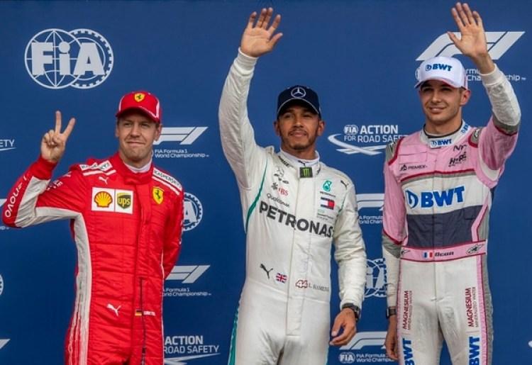 Lewis Hamilton,Sebastian Vettel y Esteban Ocon(EFE)