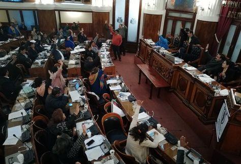 El pleno de Diputados en el momento de la aprobación del Proyecto de Ley, la madrugada de hoy.