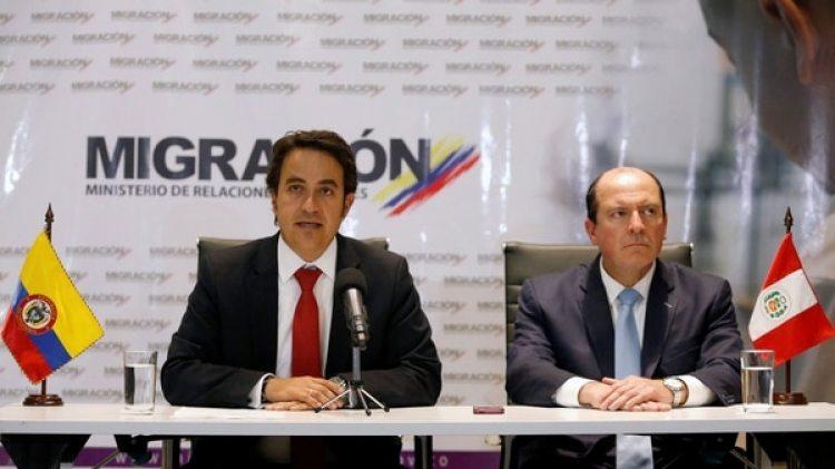 Christian Krüger, director de Migración colombiana, después de una reunión con su par peruano sobre la crisis migratoria venezolana (Reuters)