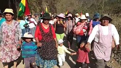 Una marcha de productora de hoja de Coca se dirige a La Paz.