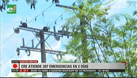Santa Cruz: CRE atendió 397 casos de cortes de luz por los fuertes vientos