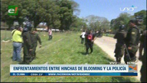 Policía interviene la sede de Blooming y arresta a varios hinchas