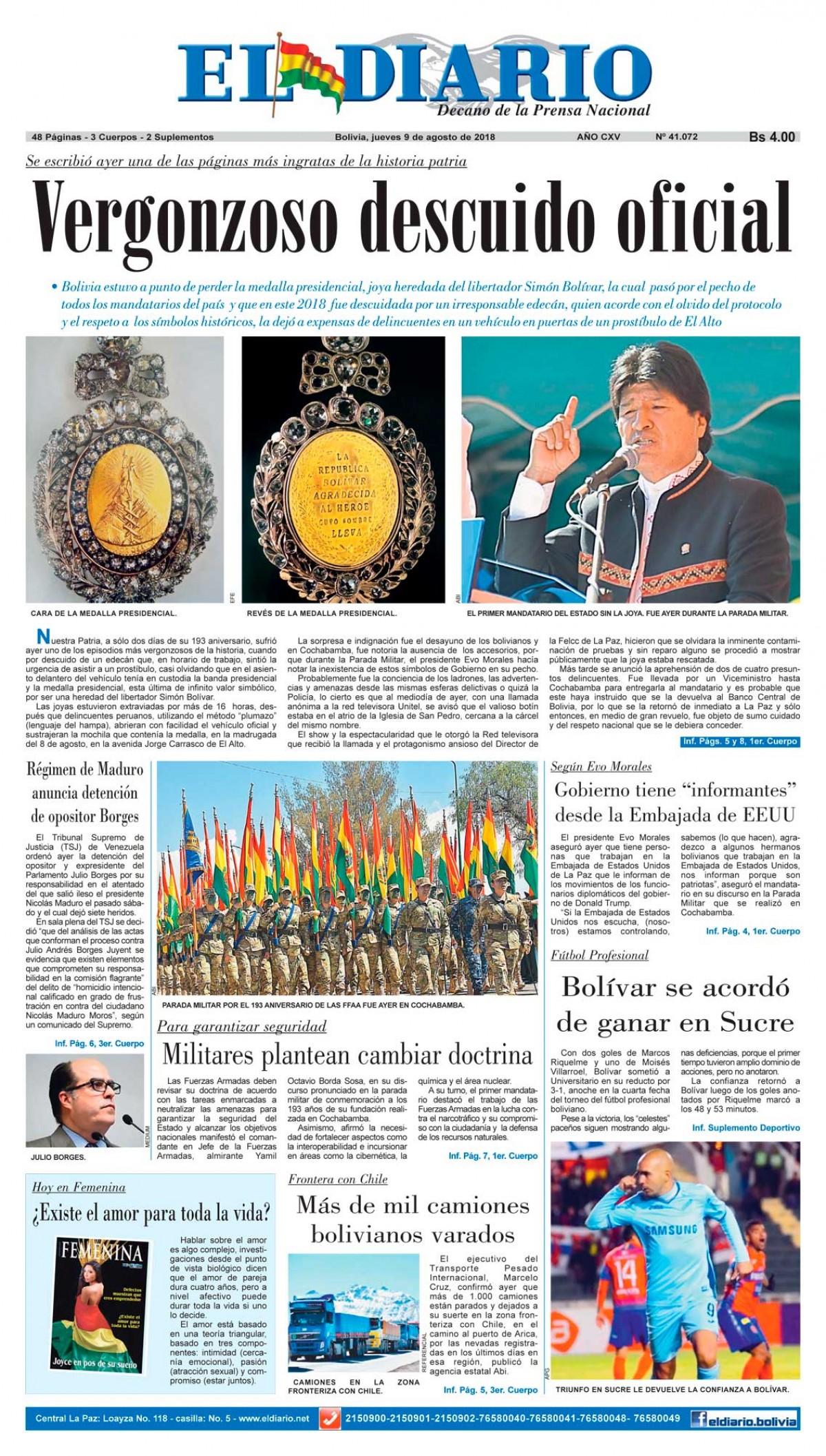 Portadas de periódicos de Bolivia del jueves 9 de agosto de 2018 ...