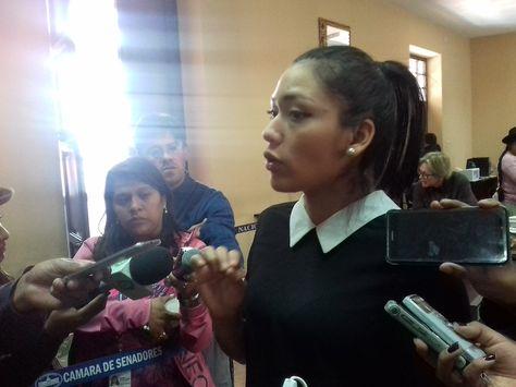 La presidenta de la Comisión Mixta de Justicia Plural de la Asamblea Legislativa Plurinacional, la senadora oficialista Adriana Salvatierra.