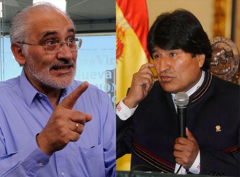 El expresidente Carlos Mesa y el presidente Evo Morales.