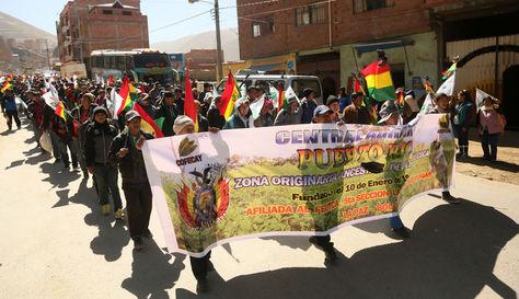 Ingreso de la marcha de cocaleros a La Paz por la zona de Villa Fátima