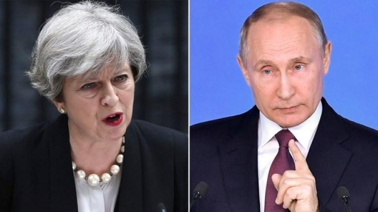 La primera ministra Theresa May y el presidente ruso Vladimir Putin