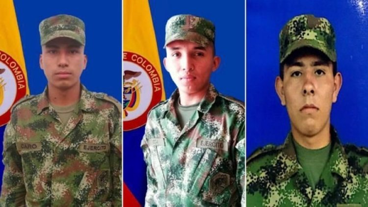 Orlando Yair Vega Díaz, Juan Pablo Rojas Ovando, y Eduardo Caro Bañol, los soldados liberados por el ELN (Fuerza de Tarea Quirón Ejercito Nacional)