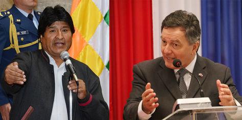 El presidente de Bolivia, Evo Morales, y el canciller de Chile, Roberto Ampuero.
