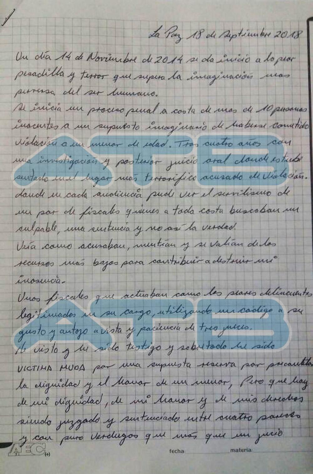 Desde la cárcel, médico Fernández acusa a 3 fiscales y tres jueces de 'destruir' su vida; lea su carta