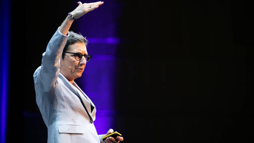Foto: Kory Kogon, durante su intervención en el World Business Forum Madrid. (WOBI)