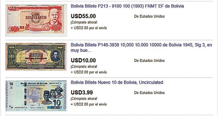 Ebay. Billete actual, uno de 1945 y uno de la nueva familia.