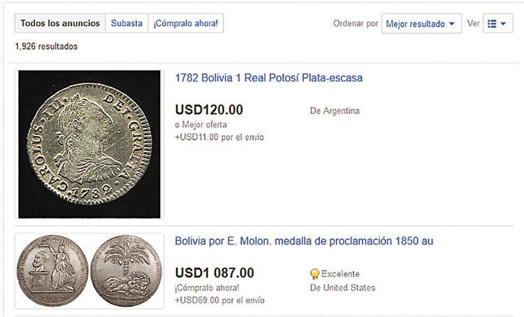 Ebay. Un real de Potosí de 1782 también se encuentra en la red.