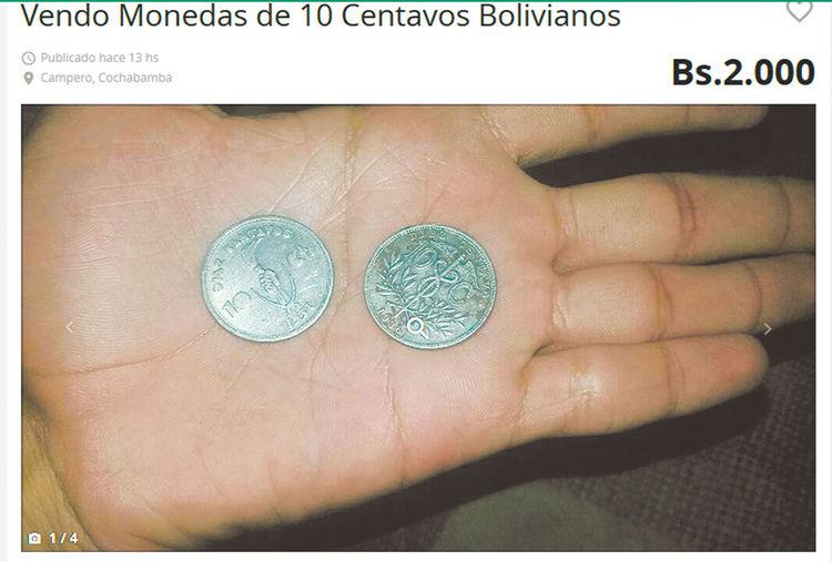OLX. Una moneda de 10 centavos antigua es vendida a Bs 2.000