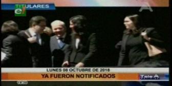 Video titulares de noticias de TV – Bolivia, noche del lunes 8 de octubre de 2018