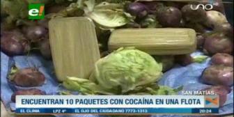 Hallan 10 paquetes de cocaína envueltos en cestas de lechuga