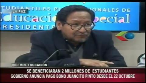 Pago del bono Juancito Pinto se iniciará el 22 de octubre