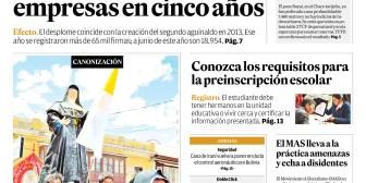 Portadas de periódicos de Bolivia del lunes 15 de octubre de 2018