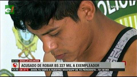 Hombre es aprehendido por robar más de 227mil bolivianos a su ex empleador