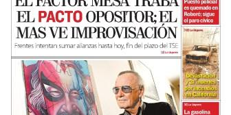 Portadas de periódicos de Bolivia del martes 13 de noviembre de 2018