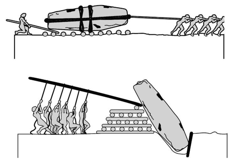 Ilustración de la revista National Geographic para una de las hipótesis de cómo levantaron a finales del Neolítico lo que hoy se conoce como el Círculo de Stonehenge