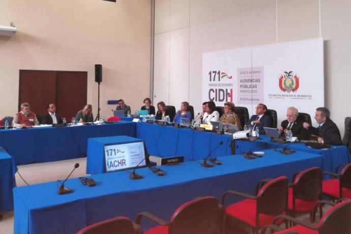 El desarrollo de la primera audiencia de esta mañana en la CIDH. Foto: Dayana Martínez