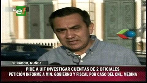Senador Núñez pide a la UIF investigar las cuentas de los dos oficiales investigados por narcotráfico