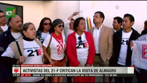 Activistas del 21F critican la visita de Almagro
