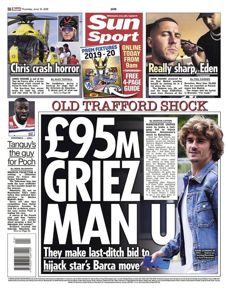 El diario The Sun informó que el Manchester United se lanzará por Antoine Griezmann