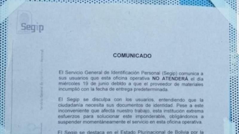 Segip no extenderá cédulas de identidad hasta el 24 de junio