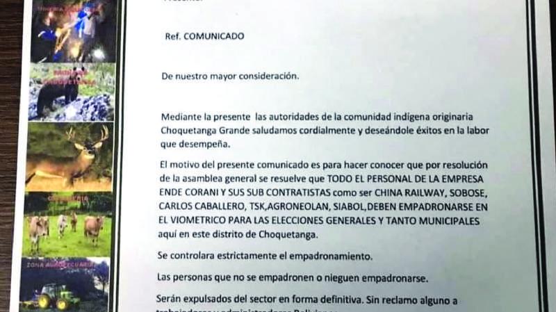 Choquetanga: Los que no se empadronen serán expulsados