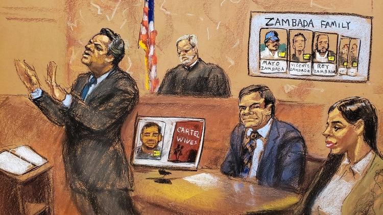 """Ilustración del juicio a Joaquín """"El Chapo"""" Guzmán Loera en Nueva York (Foto: Reuters)"""