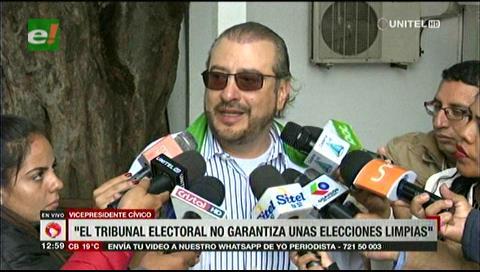 """Vicepresidente cívico: """"El Tribunal Electoral no garantiza unas elecciones limpias"""""""