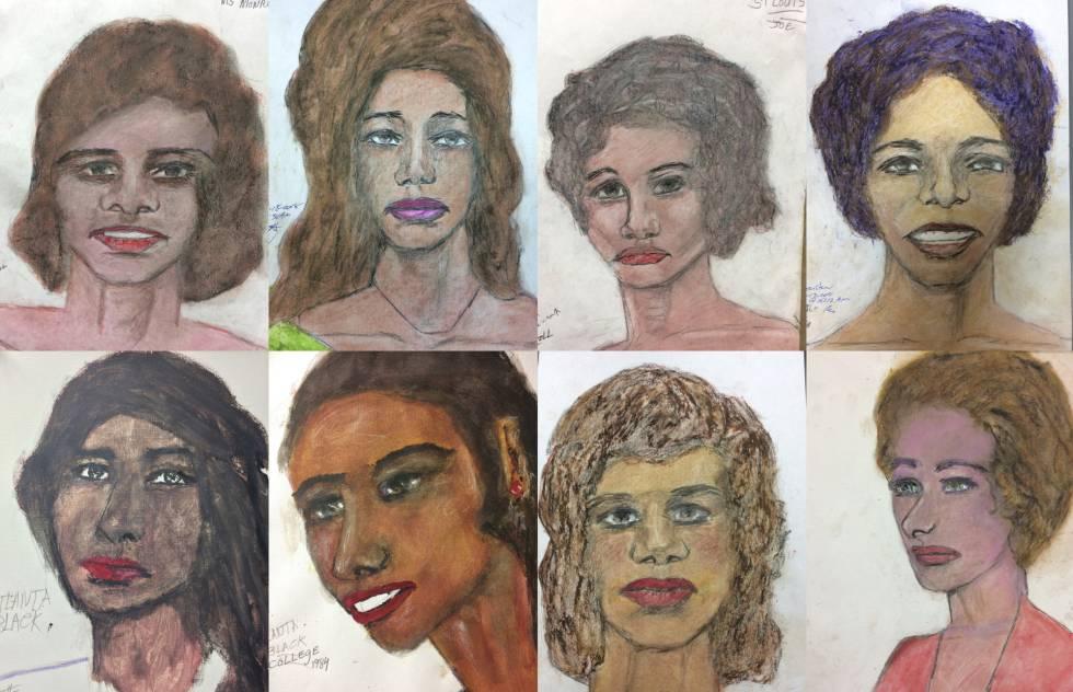 Retratos hechos por Samuel Little de sus víctimas.