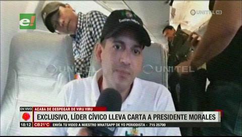 Camacho: Con fe llegaré a La Paz a dejar la carta a Evo Morales