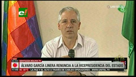 García Linera: «golpe de Estado se ha consumado», renuncia a vicepresidencia y ratifica su lealtad a Evo