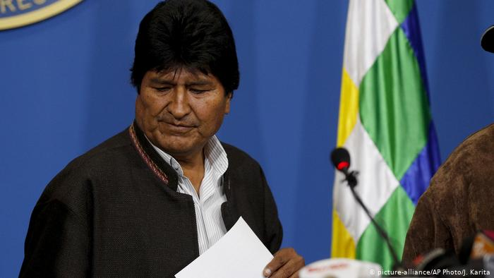 Bolivien PK Präsident Evo Morales in La Paz (picture-alliance/AP Photo/J. Karita)