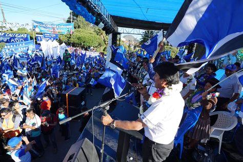 El presidente Evo Morales en Sucre. Foto:Cuenta de Twitter de Evo Morales